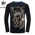 Fire Kirin T Shirt Men Long Sleeve T-shirt 3D 5XL 6XL Hip Hop Clothing Skull Tiger Wolf Lion Snake Animal Printed Tshirt T428