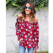 Women Summer Loose Long Sleeve Tops Slash Neck Off Shoulder Blouse Shirt Casual Fashion UK STOCK