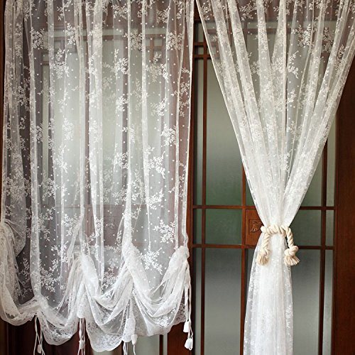 Elegant White Lace Embroidered Sheer Ballon Curtains Adjule Tie Up Curtain 1 Panel Fl Tulle For Window In From Home