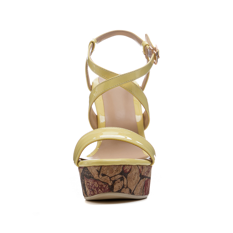 Peep Buckle Fashion Donna Ladies Alti Shoes Platform Tacchi Cross Strap Stampa Giallo Summer Wetkiss Sandali Zeppe Toe 6gvbYf7yI