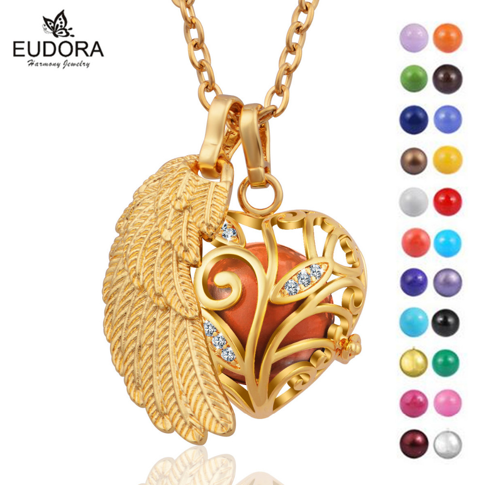 Gold color Wing Crystal Heart Flower Angel Caller Mexico Bola Eudora Harmony Ball Chime Sound Floating Locket Pendant Necklace