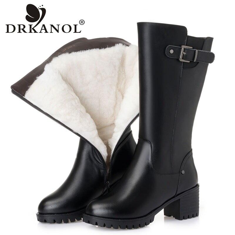 DRKANOL 2019 New Women Genuine Leather High Heel Boots Winter Warm Wool Mid Calf Boots Female