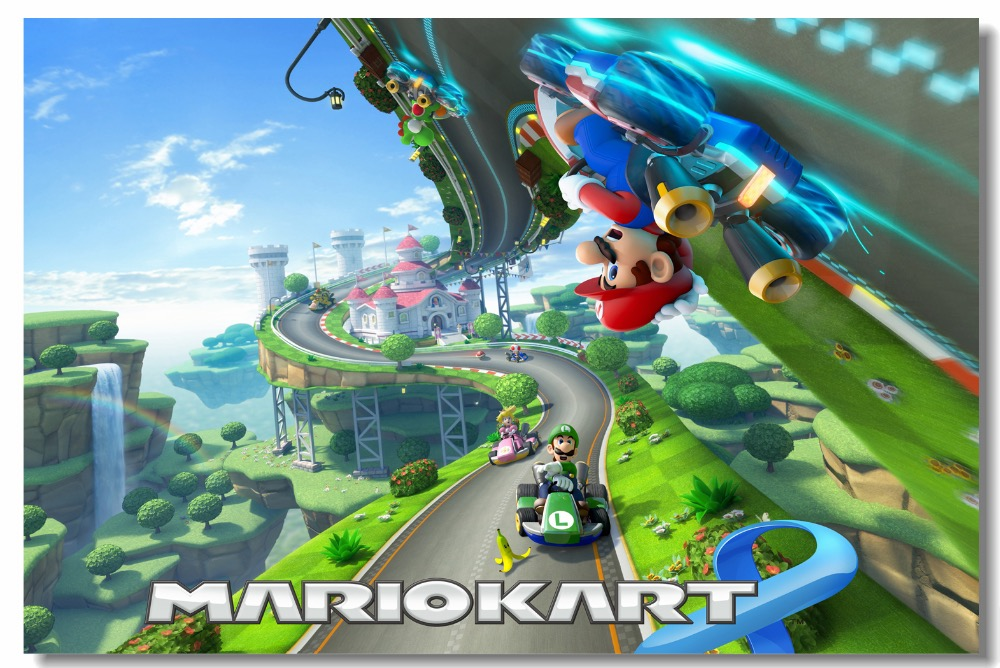 Custom Canvas Wall Mural Video Game Super Mario Poster Mario Kart 8  Wallpaper Koopa Wall Stickers Kids Room Decorations #0475#