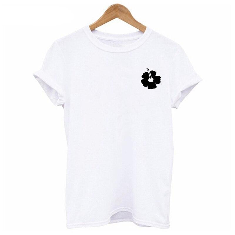 EnjoytheSpirit Femmes T Chemise Hibiscus Fleur Plant Unisexe Femme T-shirt Loose Fit Coton Doux D'été De Mode T