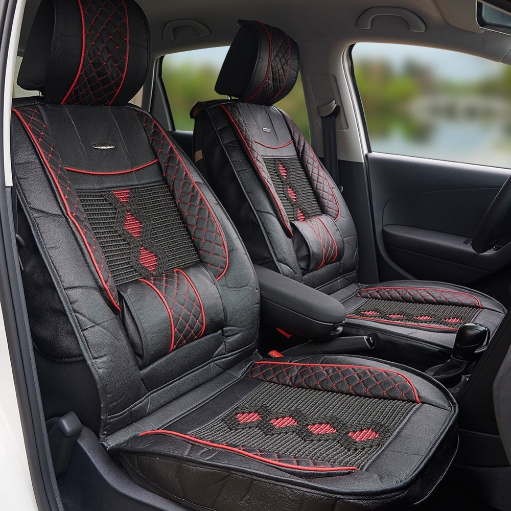 1x Universal Leather Car Seat Cover Cushion Back Support
