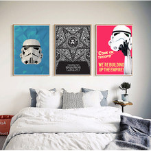 New Star wars movie White cardboard wall sticker Bar Cafe living room Art Wall stickers 42*30cm No frame(China)