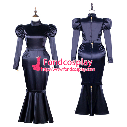 Sissy Maid Satin Dress Lockable Uniform Cosplay Costume Tailor-made[G2249]