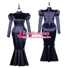 Sissy maid satin dress lockable Uniform cosplay costume Tail