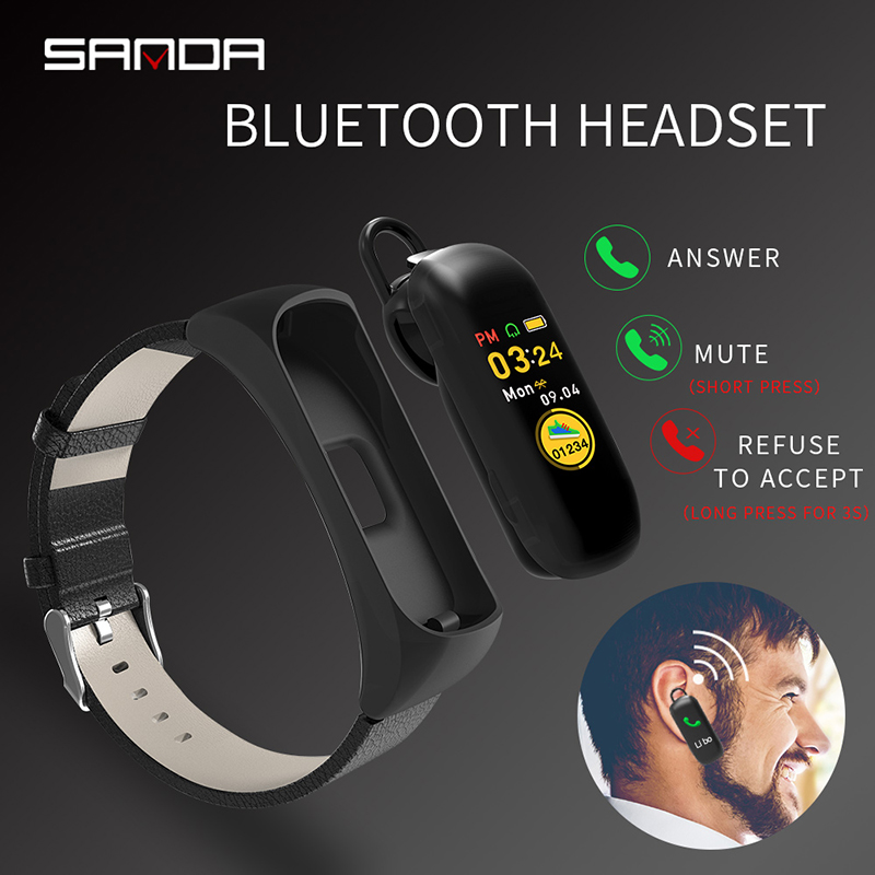 SANDA Bluetooth Sport Men Smart Watch For Android iOS Phone With Earphone Heart Rate Monitor Women