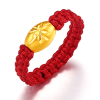 New Arrival Solid 24K Yellow Gold Ring Handmade Weave Red String Bead Ring
