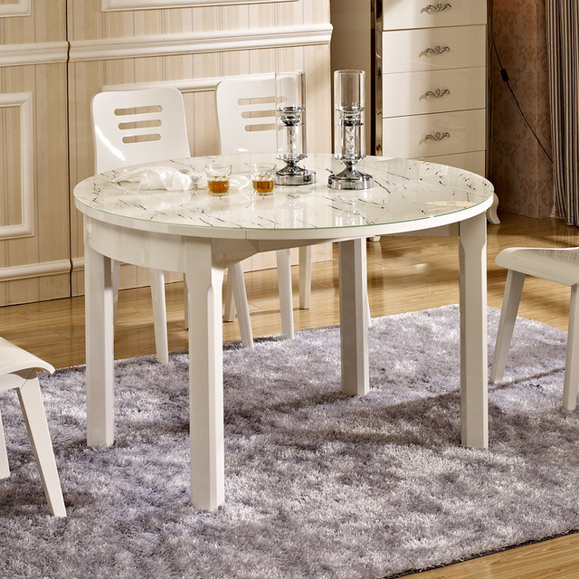 Solid Bright White Modern Fashion Minimalist Small Apartment Retractable  Folding Glass Round Table Dinette Sets Combination