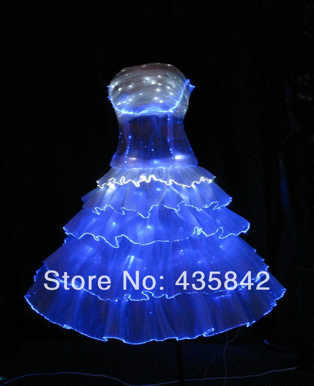 optic fiber luminous costumes light up led dress for your stage