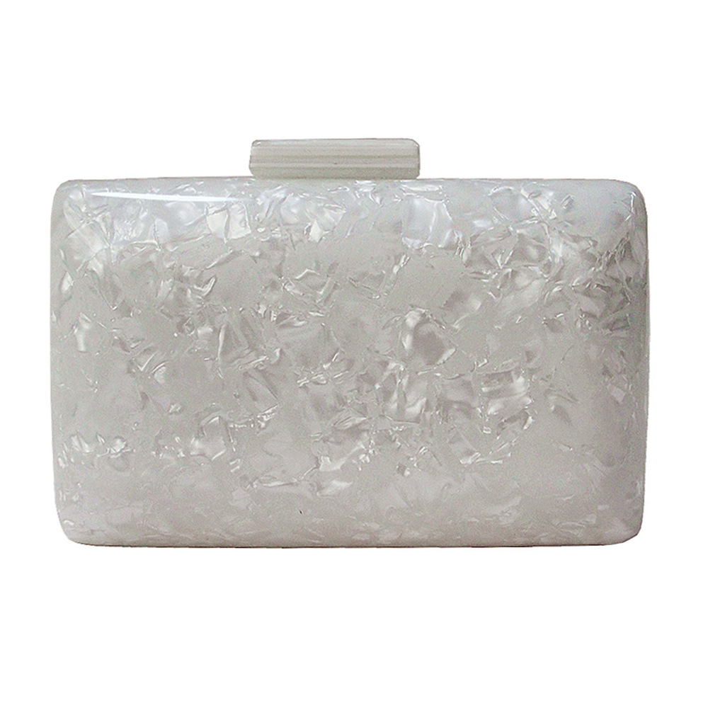 Pearlescent Acrylic Bag White Evening Clutch Bag Women Fashion Chain Shoulder Bags Small Square Dinner Clutches