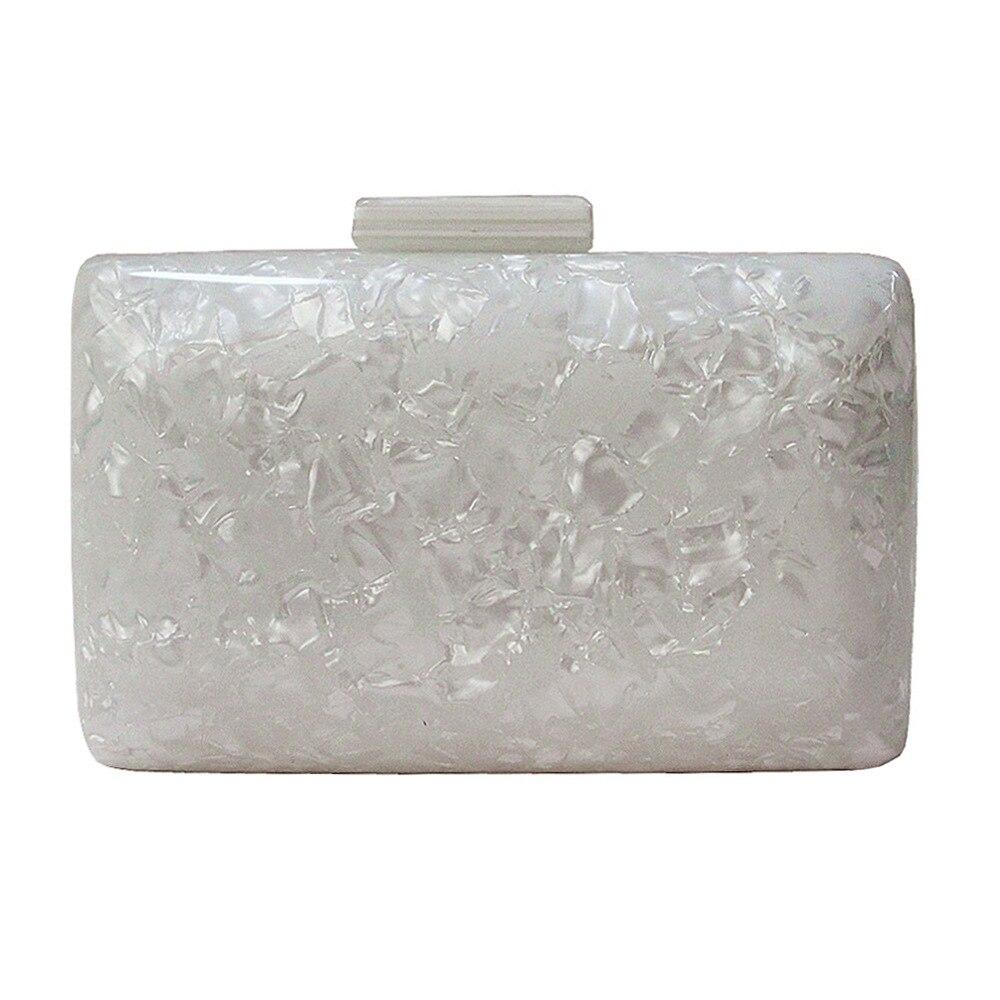 Sac acrylique nacré pochette de soirée blanche femmes mode chaîne sacs à bandoulière petit carré dîner pochettes Bolsas Femininas