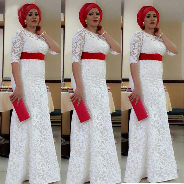 d1eb78a719b 2017 White Lace Nigeria Evening Dress Aso Ebi Style South African Mermaid Evening  Gowns Plus Size Formal Party Dress Custom Made