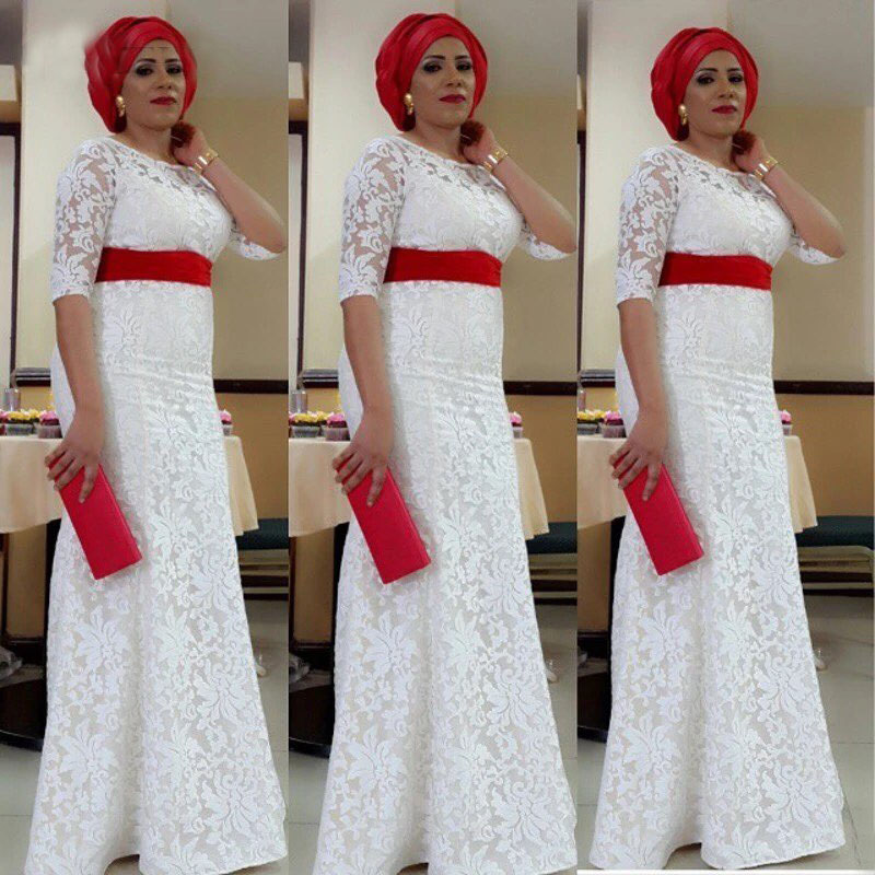 2019 White Lace Nigeria Evening Dress Aso Ebi Style South African Mermaid Evening Gowns Plus Size Formal Party Dress Custom Made