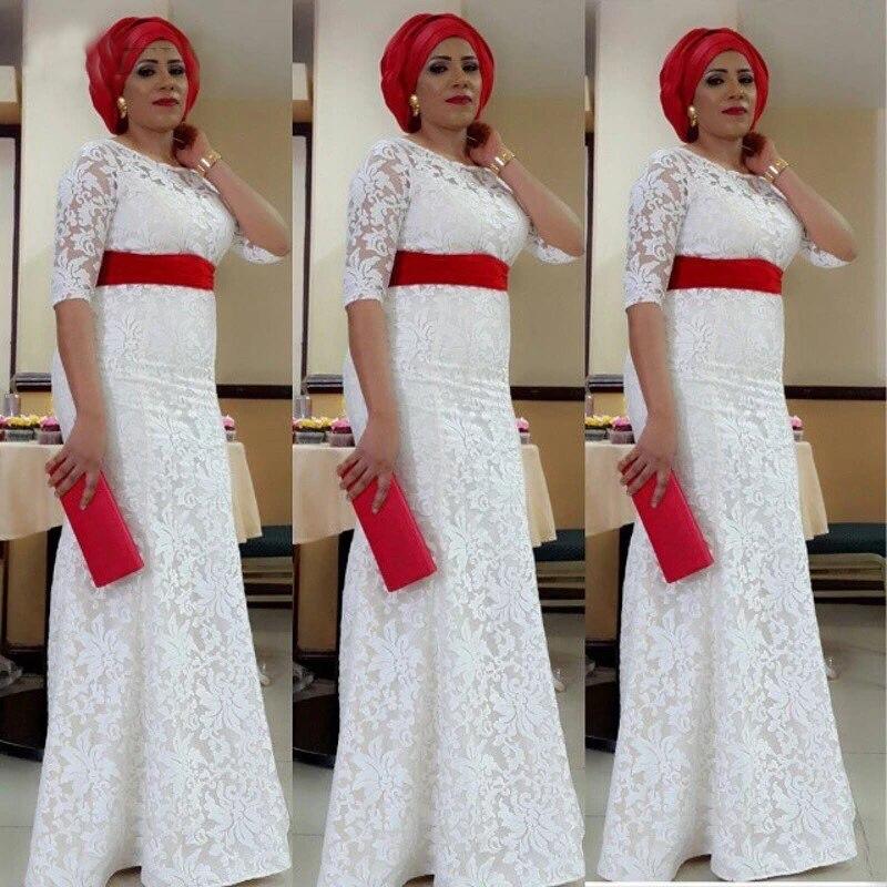 2019 dentelle blanche nigéria robe de soirée Aso Ebi Style sud-africain sirène robes de soirée grande taille formelle robe de soirée sur mesure