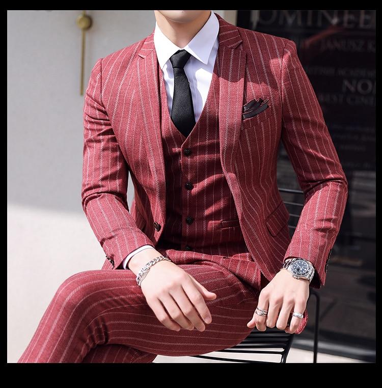 3 Piece Suits Men Tweed Striped Designer Mens Suit With Pants Vest Groom Tuxedo Retro Suits for Wedding Costume Homme Christmas