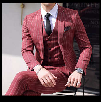 3 Piece Suits Men Tweed Striped Designer Mens Suit With Pants Vest Groom Tuxedo Retro Suits for Wedding Costume Homme Christmas - DISCOUNT ITEM  28% OFF All Category