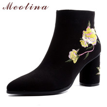 Meotina Winter Ankle Boots Women Flower Zipper Thick High Heels Short Embroider Pointed Toe Shoes Ladies Size 33-43
