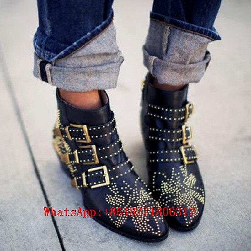 Fashion Celebrity Susanna Ankle Boots Women Buckles Rivets Studded Shoes Woman Vintage Low Heel Black Leather