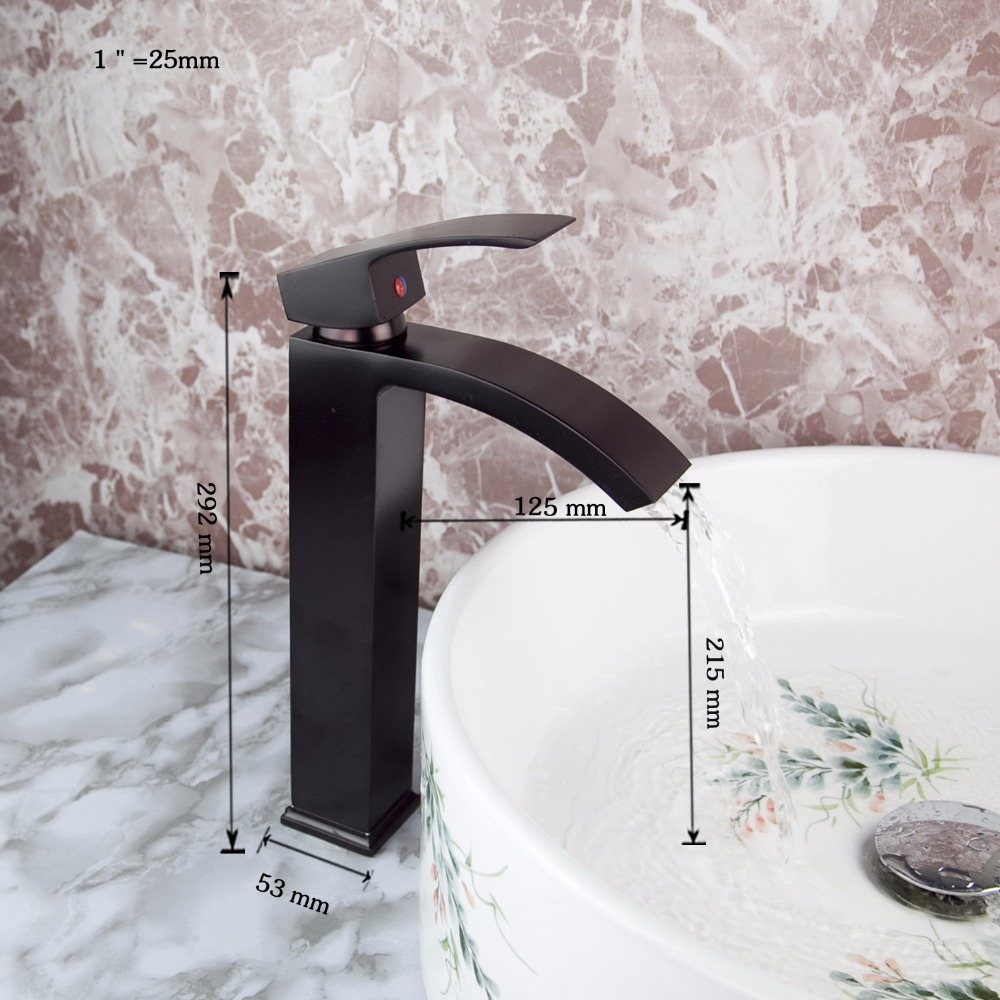 Waterfall Spout Deck Mount Contemporary Oil Rubbed Black Bronze Faucet Kitchen Sink & Bathroom Basin Tap Faucet JN8318-1 unique design waterfall basin faucet deck mount one hole bathroom mixer water tap oil rubbed bronze finish