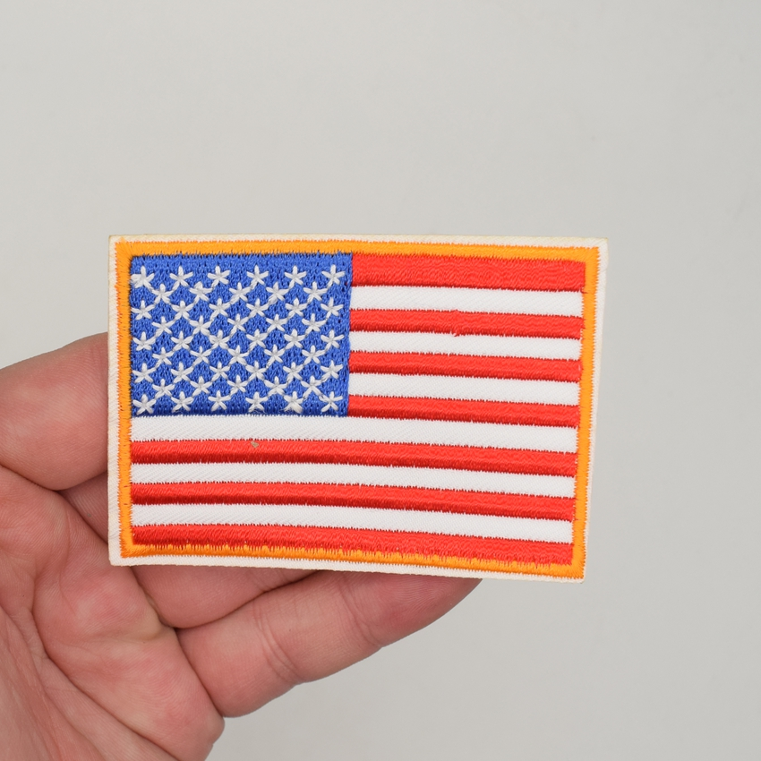 Flag United States America USA US Militaria Iron on Applique Patch Embroidered