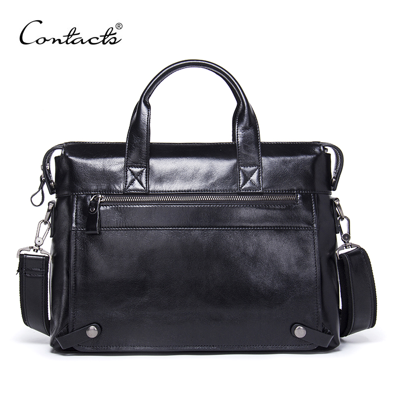 CONTACT'S Genuine Leather Men Bag Male Casual Laptop Briefcases Tote Shoulder Crossbody Bags Messenger Mens Business Office Bag lacus jerry genuine cowhide leather men bag crossbody bags men s travel shoulder messenger bag tote laptop briefcases handbags