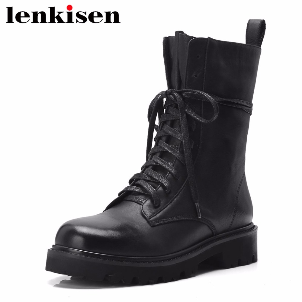 Lenkisen retro british style lace up round toe low heels natural leather autumn winter shoes women ankle motorcycle boots L33 xiaying smile woman pumps shoes women spring autumn wedges heels british style classics round toe lace up thick sole women shoes