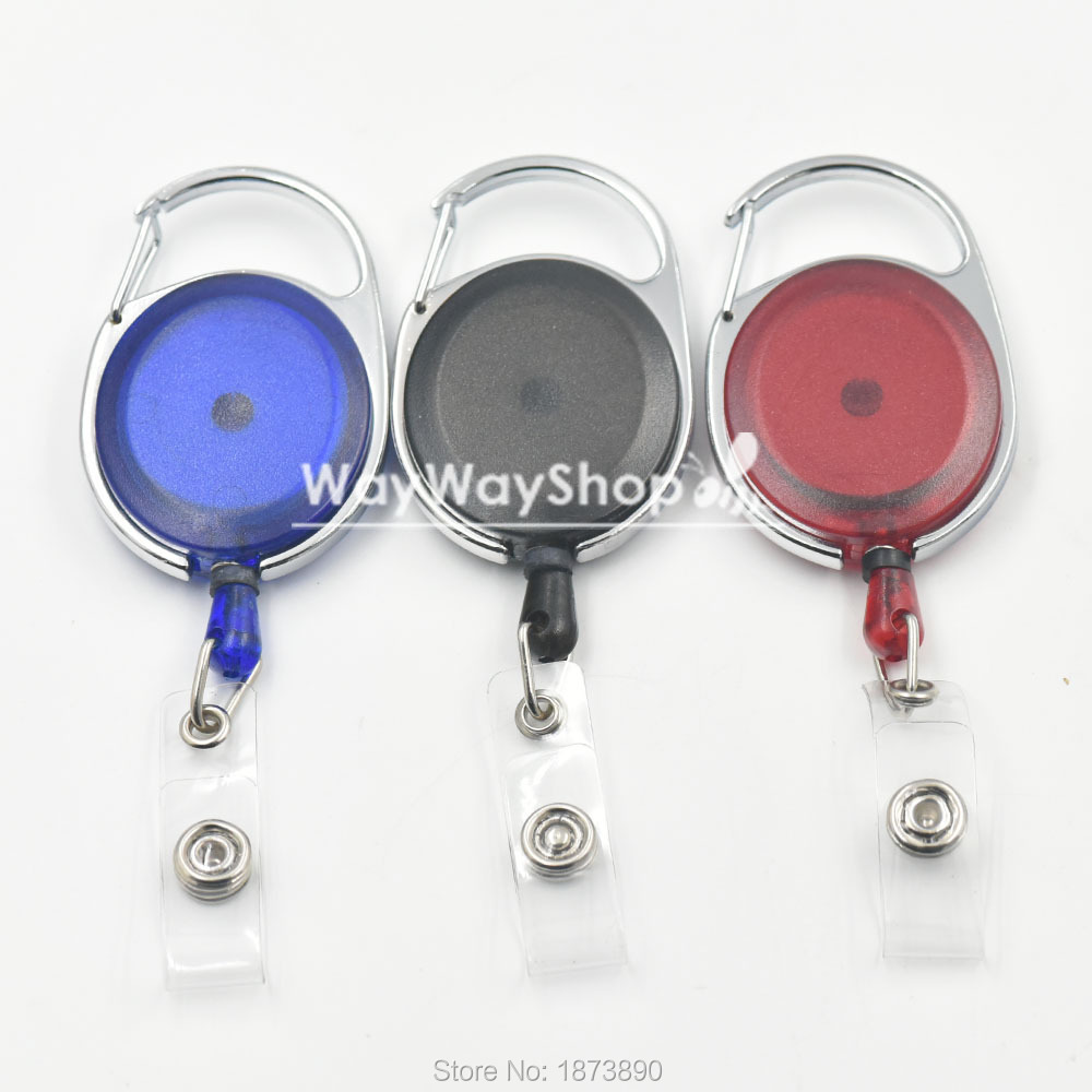 30 PCS Reel Retractable Badge Oval 40mm ID Card Holder Clear Color YOYO WS