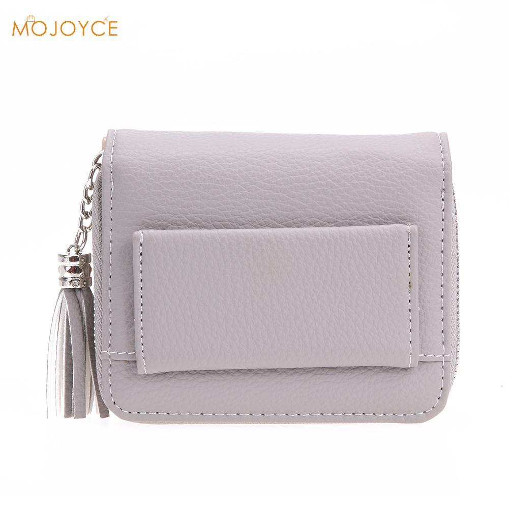 Women PU RFID Anti-magnetic Anti-theft Women Small Wallets Tassel Pendant Short Money Wallets Lady Zipper Coin Pocket Purses