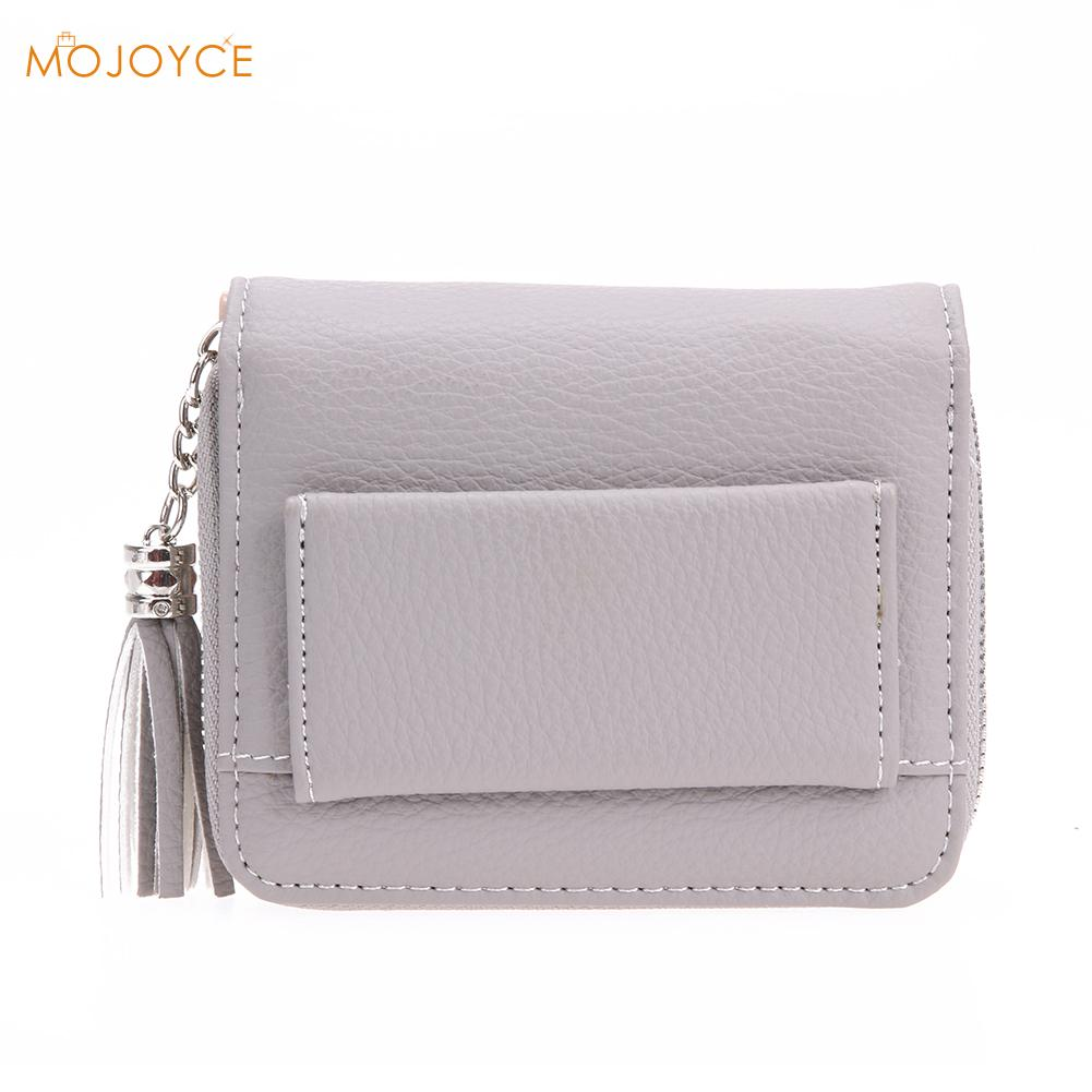 Women PU RFID Anti-magnetic Anti-theft Women Small Wallets Tassel Pendant Short Money Wallets Lady Zipper Coin Pocket Purses