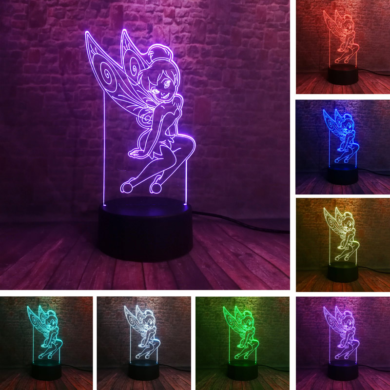 Fairies Tinker Bell Anime Figure 3D Illusion Led 7 Colors Changing Nightlight Princess Tinkerbell Figurines Toys for girls Party image
