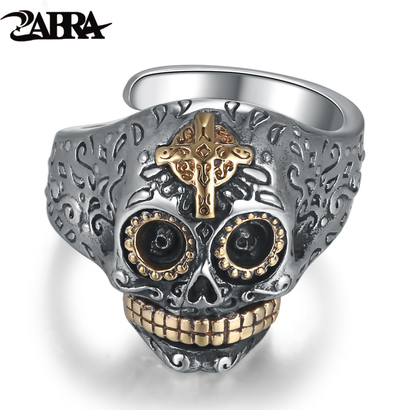 ZABRA 925 Sterling Silver Skull Gold Color Cross Ring for Mens Vintage Punk Rock Gothic Bague Argent Men Jewelry Anel Masculino zabra luxury 925 silver bracelets men vintage punk crown mens skull bracelet biker gothic sterling silver jewelry erkek bileklik