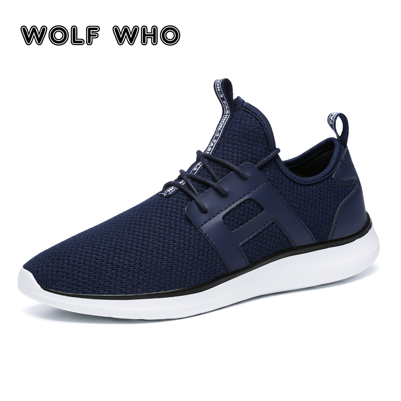 WOLF WHO Fashion Men Casual Shoes Ultralight Mesh Breathable Lace Up Shoe Mens Mesh Flats Male Sneakers Big Plus Size 39-48 W026 все цены