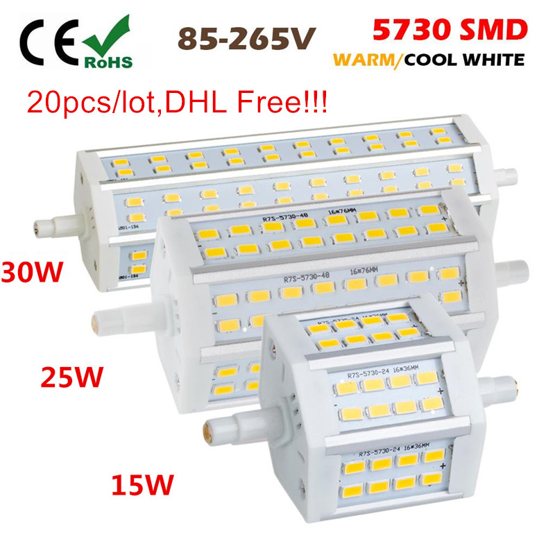 20PCS DHL Free Dimmable <font><b>R7S</b></font> <font><b>LED</b></font> 15W 25W <font><b>30W</b></font> SMD5730 <font><b>led</b></font> <font><b>r7s</b></font> 78mm J78 118mm J118 189mm J189 bulb light halogen Lamps floodlight image