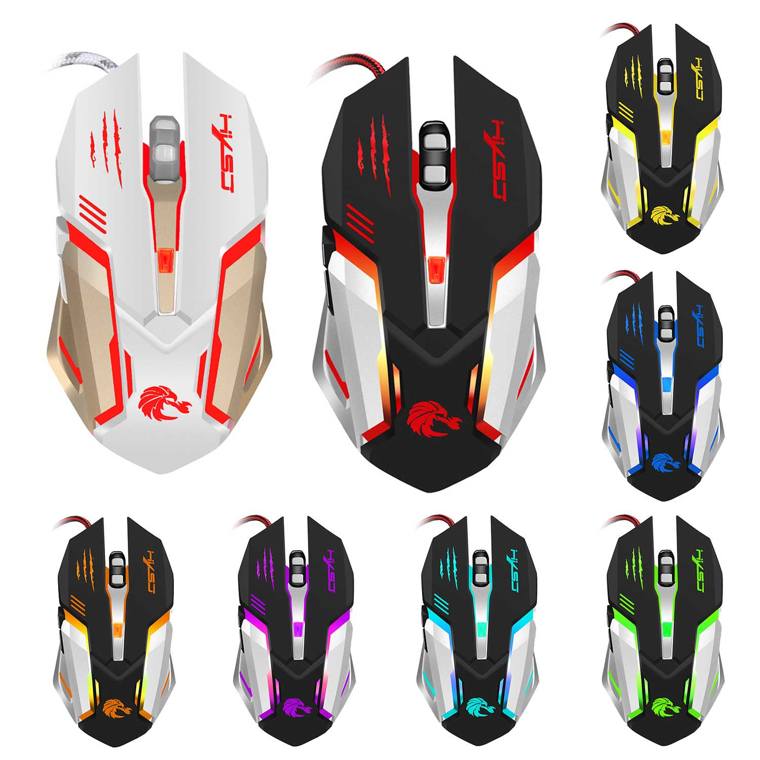 New LED Optical USB2.0 Wired Gaming Mouse Adjustable 5500DPI 6 Buttons Game Gamer PC Laptop Computer Mice QJY99