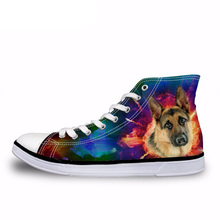 NOISYDESIGNS Vintage Animal Shepherd Print Vulcanize Shoes for Ladies Casual Female High Top Canvas Shoes Women Lace-up Flats instntarts universe star women casual flats shoes cool animal purple wolf print woman s high top vulcanize canvas shoes sneakers