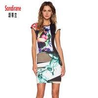 Sondirane Summer Vogue Dress 3D Print Art Flower Pattern Women Dress Fashion Short Sleeve Party Dress Summer Slim Mini Dress