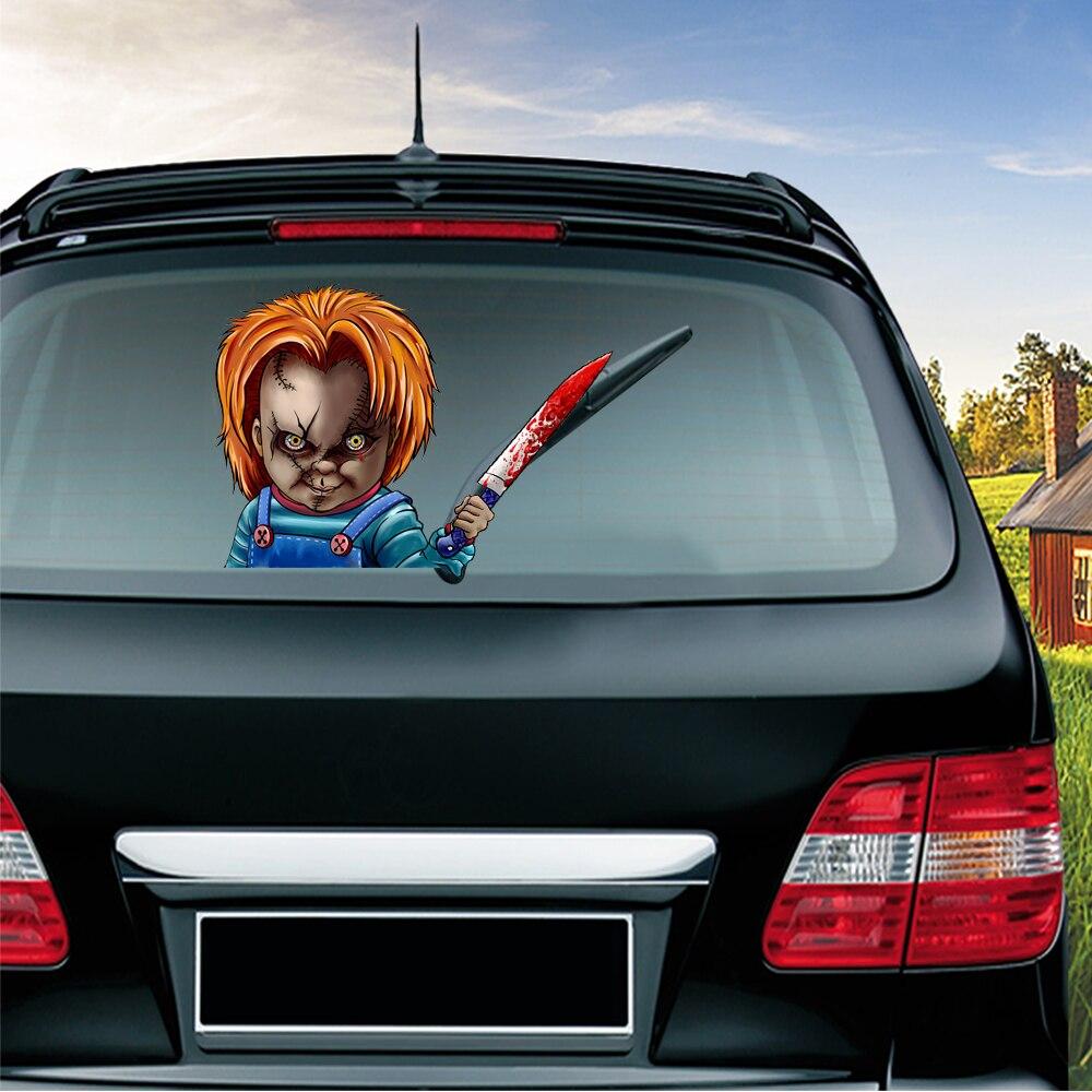 Съемные стеклоочиститель ужасный Чаки, ПВХ, 3D наклейки на окна автомобиля, декоративные автомобильные аксессуары, Стайлинг автомобиля