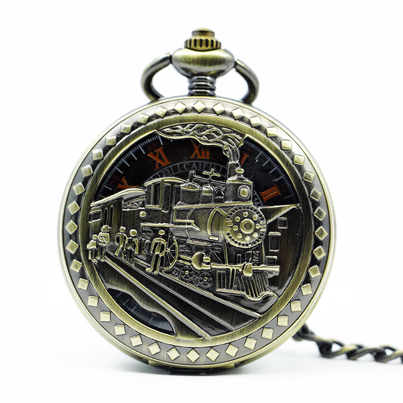 Train Carved Vintage Pocket Watch Mechanical Hand Winding Necklace Key Chain Luxury Gift Pocket Watch unique smooth case pocket watch mechanical automatic watches with pendant chain necklace men women gift relogio de bolso