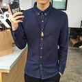 Весной Новый Мужские Рубашки Классический Китайский Стиль Белье Мужчины Рубашки С Длинным рукавом Slim Fit мужские Рубашки Вскользь Рубашки Человека Высокое Качество 4XL