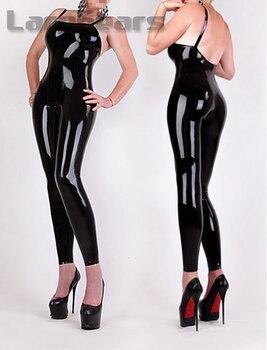 Sexy Women Latex Harness Catsuit No Zipper Rubber Jumpsuit Plus Size custom made