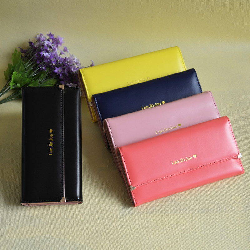 2017 women THREE FOLDS long wallets pure solid color womens wallet high capacity purse with card holder and photo frame