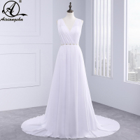2017 New Style High Neck White Chiffon Sequined Beaded Floor Length Wedding Dress