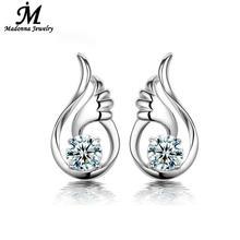 Moda joyería fina violeta blanco Crystal 925 aretes de plata pendiente alas del ángel diseño oído de la joyería marca Online regalo venta al por mayor