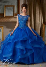 New 2016 Royal Blue Red Quinceanera Dresses With Beaded Ruffles Sweet 16 Dress Vestidos De 15 Anos QR71