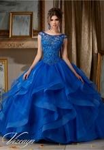 New 2016 Royal Blue Red Quinceanera Dresses With Beaded Ruffles Sweet 16 Dress Vestidos De 15 Anos QR71