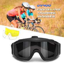 Outdoor Military Goggles UV400 Protective Dustproof Cycling Training CS Gaming Eyewear 2 Interchageable Lens