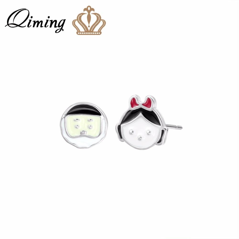 QIMING Little Girls Charm Women Earrings Old Man Figure Silver Jewelry Birthday Gift Fashion Baby Earring Stud Vintage Earrings